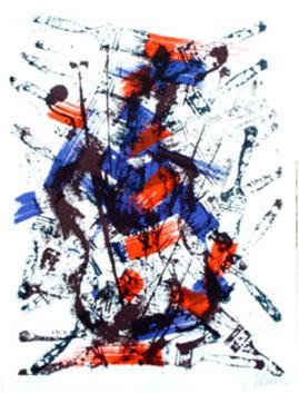 Arman : Lithographie originale : Mélodie brossée