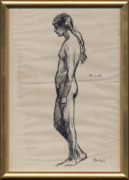 Original signed ink de André Albert : Nude woman in profile