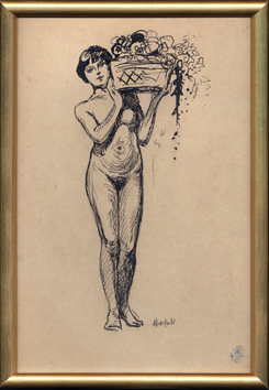 Original drawing in ink de André Albert : Nude with basket