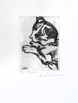 Original signed drypoint de Mounic Anne : Attention
