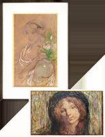 Signierte originale Pastell-Zeichnung de  : Femme au vase de fleurs