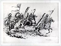 Signed drawing in ink de  : Indian Plain Raid