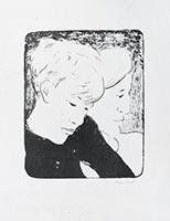 Signierte Originallithographie de  : Geschwister, zweiter Zustand
