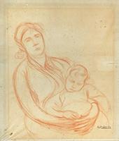 Signierte Original-Zeichnung de  : Mutterschaft