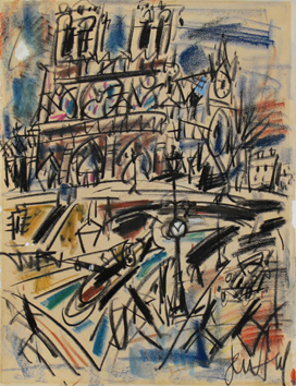Paul Gen : Signed drawing in pastel : Notre Dame de Paris