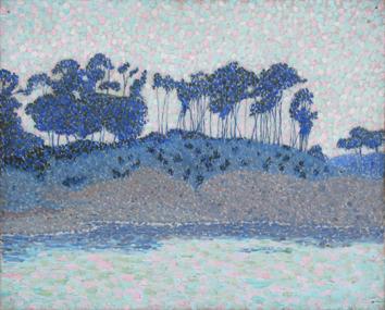 Signierte originale Öl-Malerei de  : Landschaft mit Strandkiefern