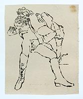 Signierte Tinte-Zeichnung de  : Caresse délicate