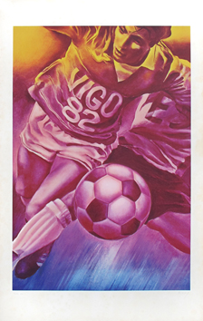 Original signed poster de Monory Jacques : Football world cup, Vigo