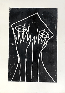 Original linocut de Brown James-Jacques : Portrait of woman