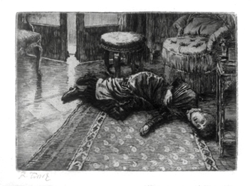 Tissot James : Original signed etching : Ren�e fainting after hearing