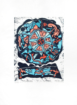 Original signed linocut de  : Comme à la parade