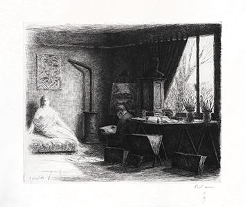 Gravure originale signée de  : L'Atelier de Dunoyer de Segonzac à Chaville