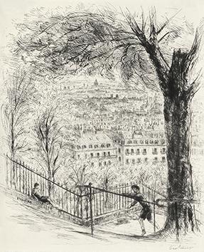 Gravure originale signée de  : Le Promeneur accompagné, Planche de couverture