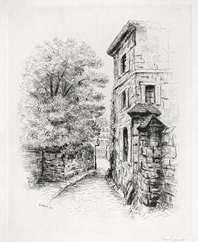 Gravure originale signée de  : Le Promeneur accompagné, Planche n° 6, Rue Berton