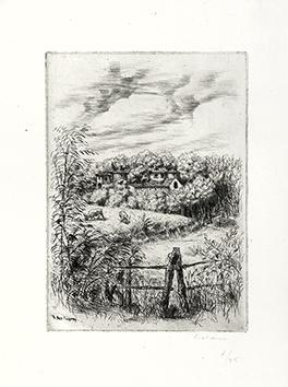 Gravure originale signée de  : Le Petit Fougeray (Essai pour le livre Monsieur des Lou