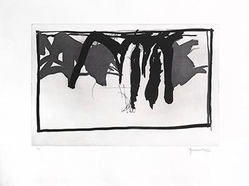 Gravure originale signée de  : Paysage aux cyprès