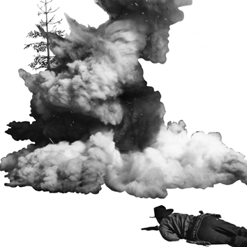 Baldessari John : Signed print : Smoke, tree, shadow and person