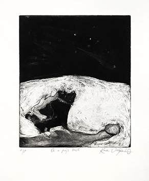 Original signed etching de  : On a pig's back
