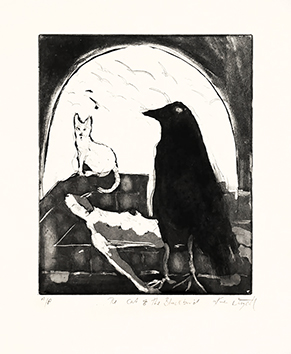 Original signed etching de  : The cat & the blackbird