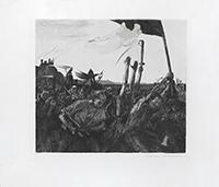Signed etching drypoint de  : Aufruhr (Revolt)