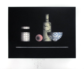Original signed mezzotint de  : The tea box