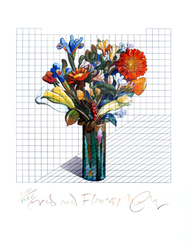 Glaser Milton : Original signed lithograph : Grid and flowers