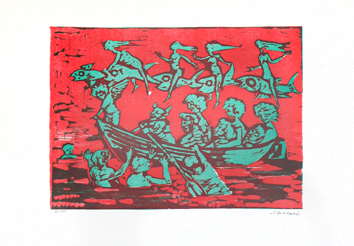 Maccari Mino : Original signed linocut : Without title II