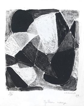 Lithographie originale signée de  : Composition sans titre I