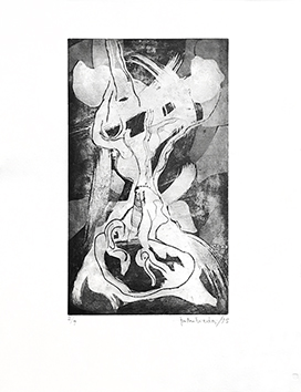 Original signed etching de  : Composition without title I