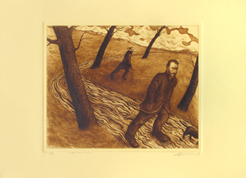Original signed drypoint de  : Your land is mine