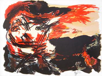 Appel Karel : Lithographie originale signée : Rencontre