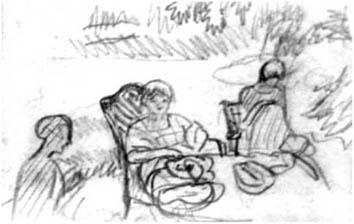 Bonnard Pierre : Dessin : Dans le jardin