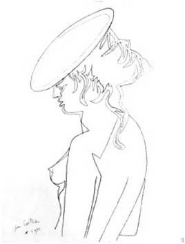 Cocteau Jean : Lithographie originale : Sans titre
