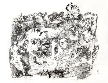 Dubuffet Jean : Lithographie originale : Paysage aux fantasmes
