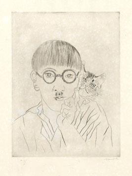 Foujita Léonard : Etching : Self-portrait the cat...