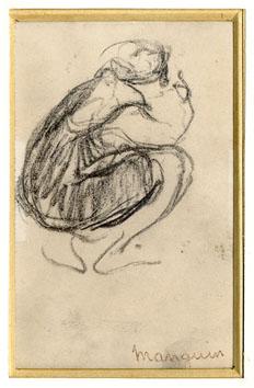 Manguin Henri : Dibujo : Personaje puesto en cuclillas