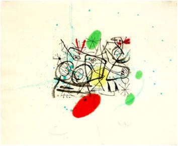 Miro Joan : Incisione : Pr�paratifs d'oiseaux III