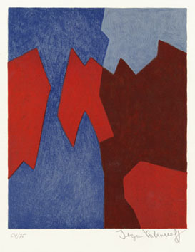 Poliakoff Serge : Lithographie : Composition, rouge, bleu