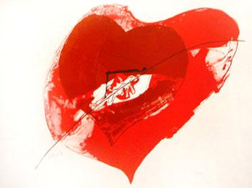 Rebeyrolle Paul : Lithographie originale : Coeur