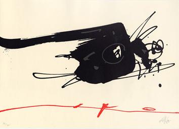 Saura Antonio : Lithographie originale signée : Cataclysme