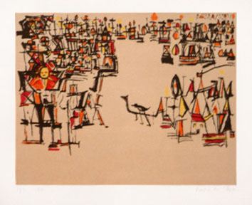 Vieira Da Silva : Lithographie originale signée : Carnaval