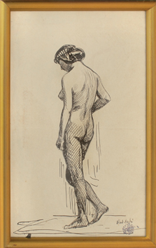 Signed drawing in ink de André Albert : Nude with bun