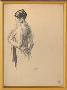 Original drawing in ink de André Albert : Nude
