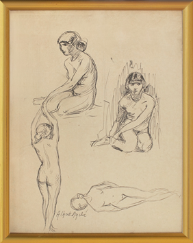Signed drawing in ink de André Albert : Nude, study of young woman