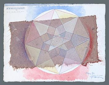 Aquarelle originale signée de  : Hypercube