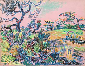 Dessin au pastel de  : Paysage de l'île de Ré II