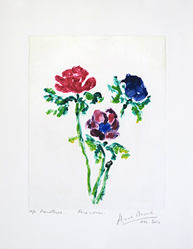 Original signed monotype de Mounic Anne : Anémones