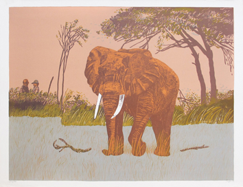 Original signed lithograph de  : Elephant I
