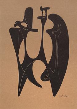Linogravure originale signée de  : Continuité plastique