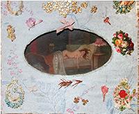 Technique mixte originale signée de  : Les auras - Femme allongée